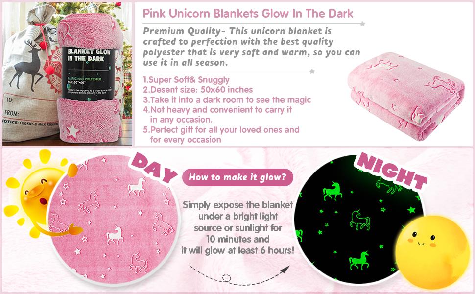 Pink Unicorn Throw Unicorn MAXYOYO Blanket Glow in The Dark 50 x 60 Inches