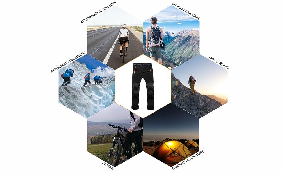 SUKUTU Pantalones de Senderismo para Hombres al Aire Libre Pantalones Multibolsillos Ligeros Transpirables para Caminar monta/ña Correr con cintur/ón