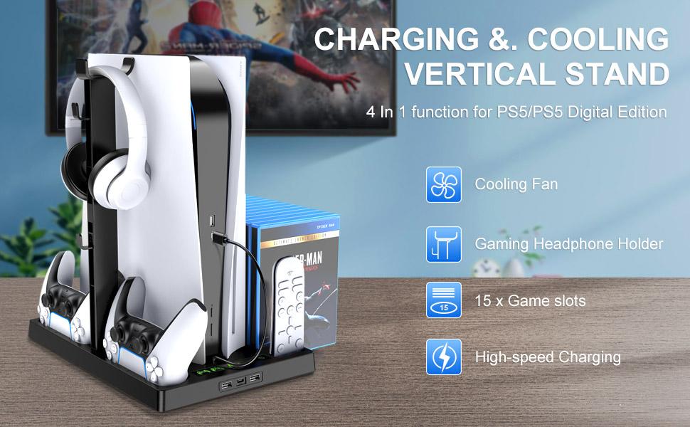 5 en 1 Support de ventilateur de refroidissement vertical