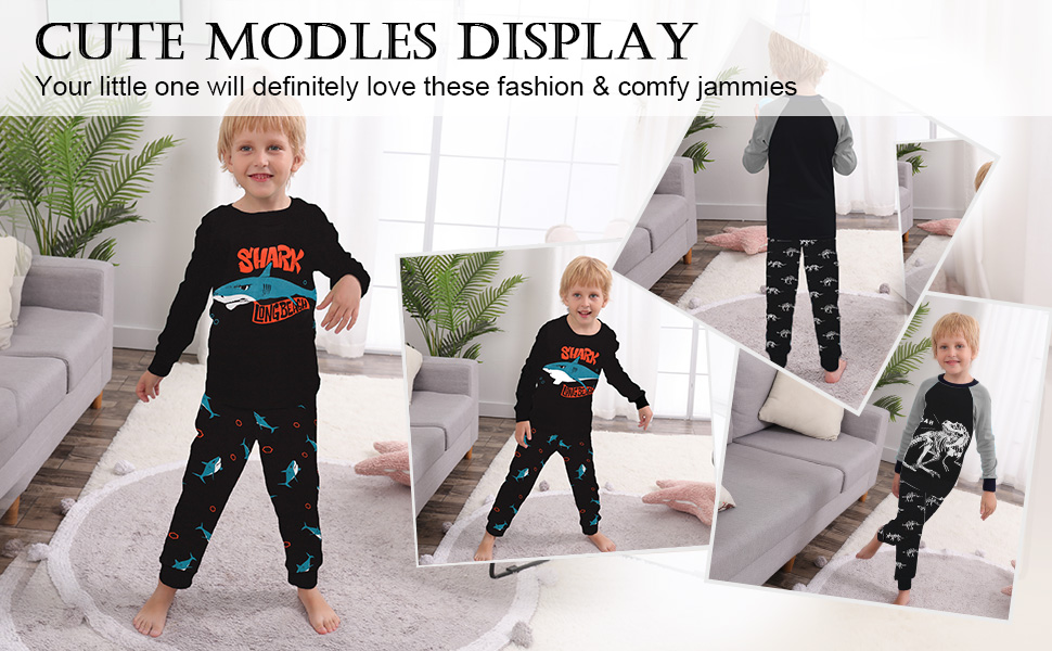 long sleeve dinosaur shark pajamas pjs 4 piece jammies sleepwea