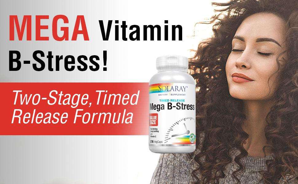 Solaray Mega Vitamin B-Stress, Two-Stage Timed-Release B Complex Vitamins Vegan 276 Tablets