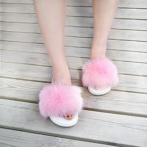 Real Fox Pink Fur Slides