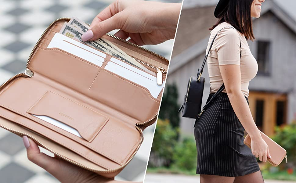 Designed in the USA, from Vegan Leather with RFID Blocking Lining it protects you from digital