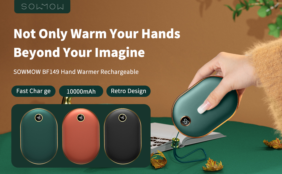 Winter Gift Climbing Quick Heating Hiking Great for Skiing Sowmow Rechargeable Hand Warmers 5000mAh Portable Pocket Hand Warmer Electric