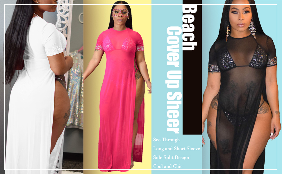 Women's Sexy See Through Bikini Cover Ups Sheer Crochet Maxi Dresses for Beach