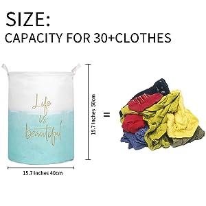 50 cmX40cm,65L today CAM2 Cesto para guardar ropa sucia plegable tama/ño grande 19.7X15.8 con forro impermeable de algod/ón,ramio,lona y arpillera,con forma de cubo cil/índrico