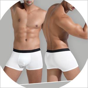 LSAMDIR Mens Cotton Underwear Boxer Briefs White