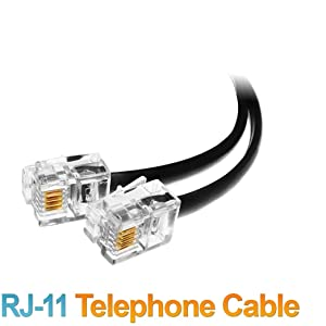 Extension Cord Cable Landline Wire with Standard RJ-11 Plugs