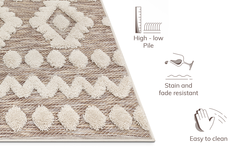Well Woven plush bohemian chunky textured plush 3D pile child friendly Moroccan tribal area rug