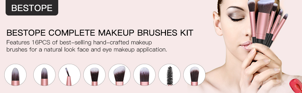 16 Makeup Brushes & 4 Blender Sponge & 1 Brush Cleaner