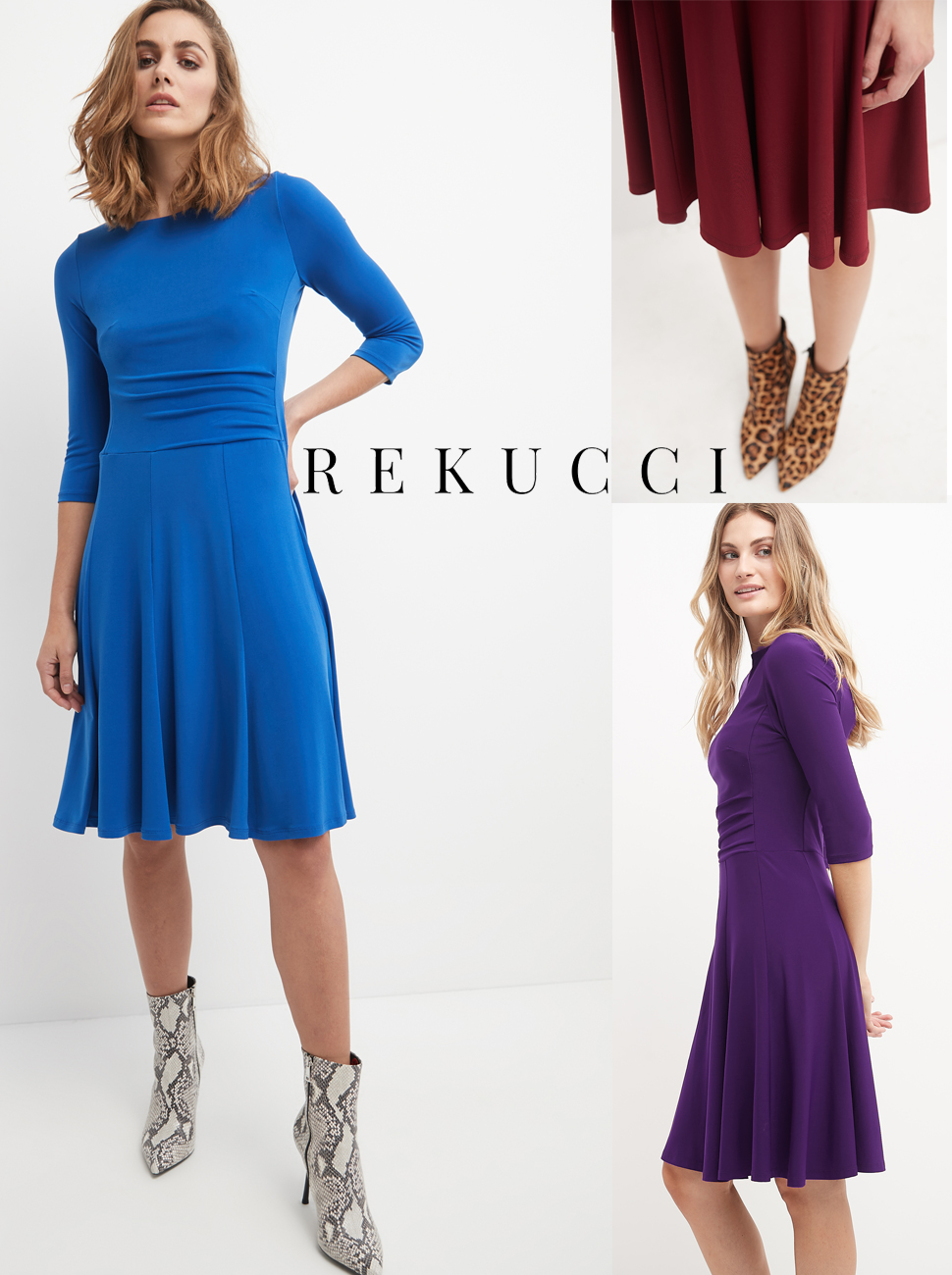 Fit-N-Flare dresses, red, night garden print and close up royal showing the ruched waist.