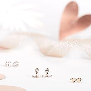 Jewelcandle bougie parfumées bijoux cadeau boucles d'oreilles argent Sterling 925 plaqué or rose