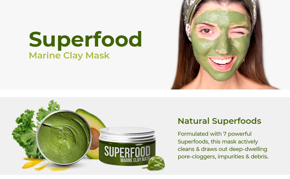 superfood marine clay mask detox natural vegan brightens nourish hydrate
