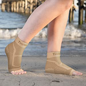 ankle brace, running socks, compression support sleeve