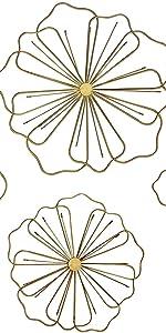 Home Decor White Metal Wall Flowers