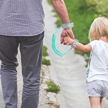 Just put the smaller wristband around your little sweetie's wrist to link you two together.