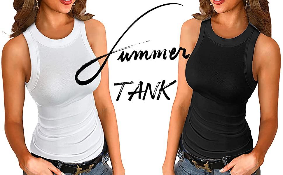 osazic Women Slim Knit Ribbed Cotton Tank Tops Summer Sleeveless Basic Cami Top Shirt Blouses S-2XL