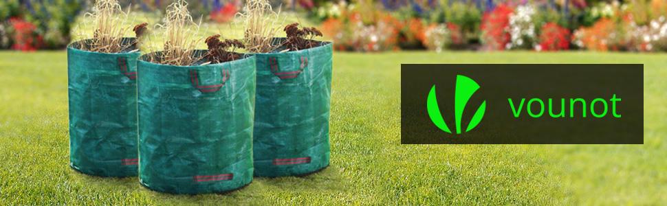 VOUNOT 3 x Sacos de Jardin 272L Bolsas de Basura de jardín, con Asas, Plegables y Reutilizables: Amazon.es: Jardín