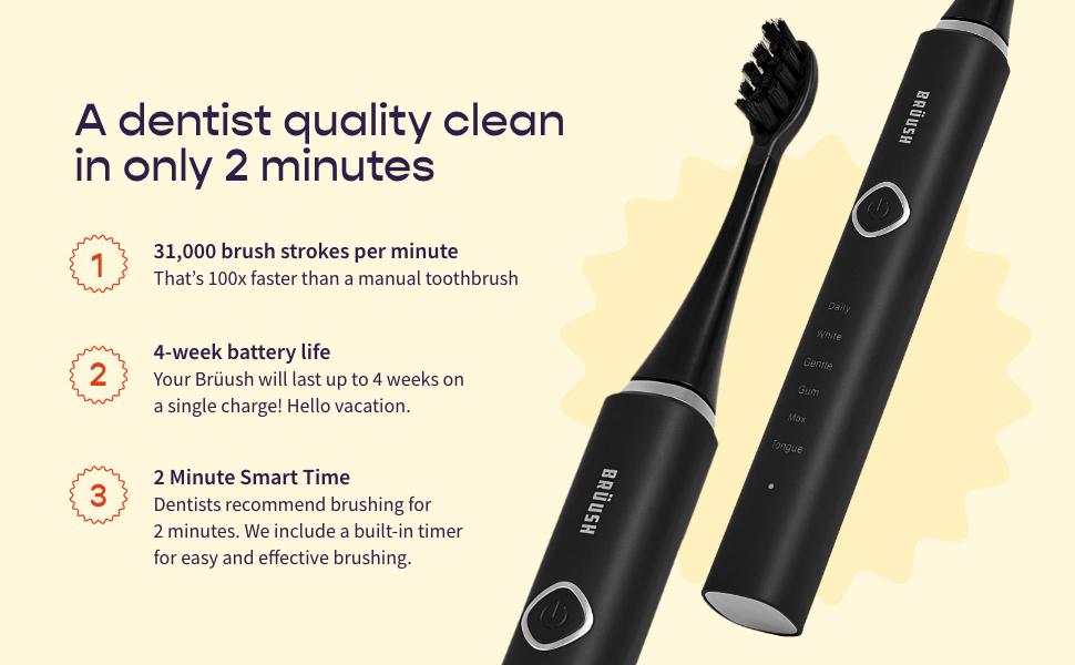 bruush toothbrush travel new battery vibrate