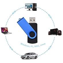 10 Piezas Memoria USB 2GB Pen Drives, Azul Portátil Funcional Pendrive 2 Giga Giratoria Flash Drive USB 2.0, Kepmem 2 GB Memorias Externo Stick Metal Llavero Almacenamiento de Datos para la Oficina: Amazon.es: Electrónica