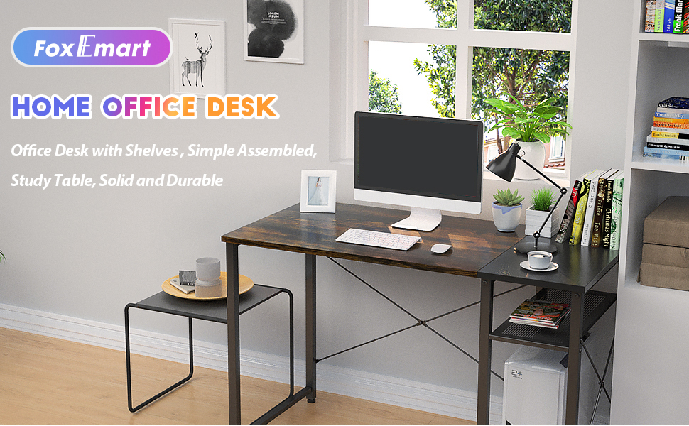 computer desk with shelve
