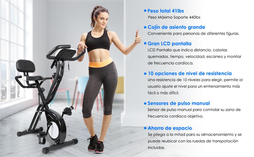 EVOLAND Bicicleta Estática Plegable, Bicicleta de Entrenamiento de ...