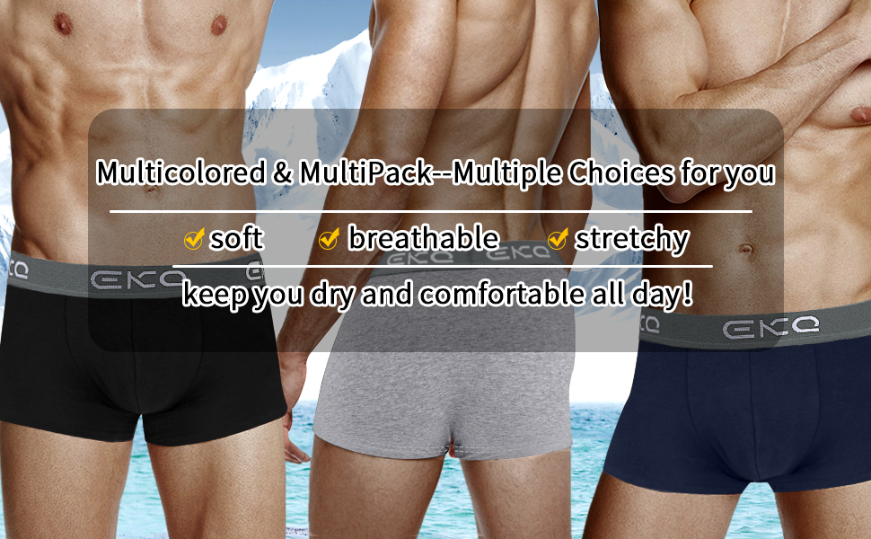 4pcs//Pack Mens Stretchy Trunks Underwear  Hipster Logo Cotton Plain Boxer Shorts