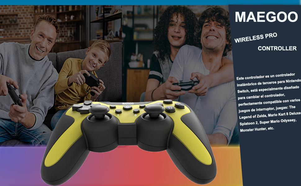 Maegoo Mando para Nintendo Switch y Switch Lite, Bluetooth Inalámbrico Controlador Nintendo Switch Pro Mando Controller Gamepad Joypad con Función Gyro Axis/Dual Shock y Turbo: Amazon.es: Electrónica