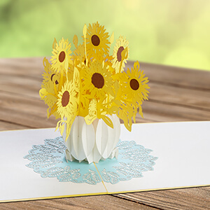 Pop Up Karte Blumen mit Sonnenblumen, 3D Blumenkarte