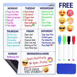 Dry Erase Whiteboard - Magnetic Calendar for Refrigerator - Chore Chart for Kids, Weekly Family Meal Planner, Fridge Notepad with 4 Board Markers and ...