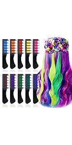 10 Color Hair Chalk Comb