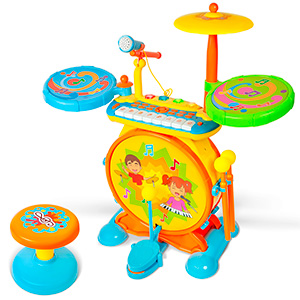 Toonit Jamz Kids Musical Drumset Keyboard Playset MP3 Karaoke