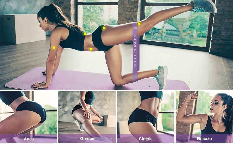 Fasce Elastiche Fitness per Crossfit, Yoga, Pilates, Fisioterapia Riabilitazione, Allenamento Forza