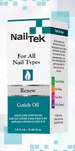 Nail Tek Renew Cuticle Oil with Tea Tree Oil and Vitamin E, 0.5 oz