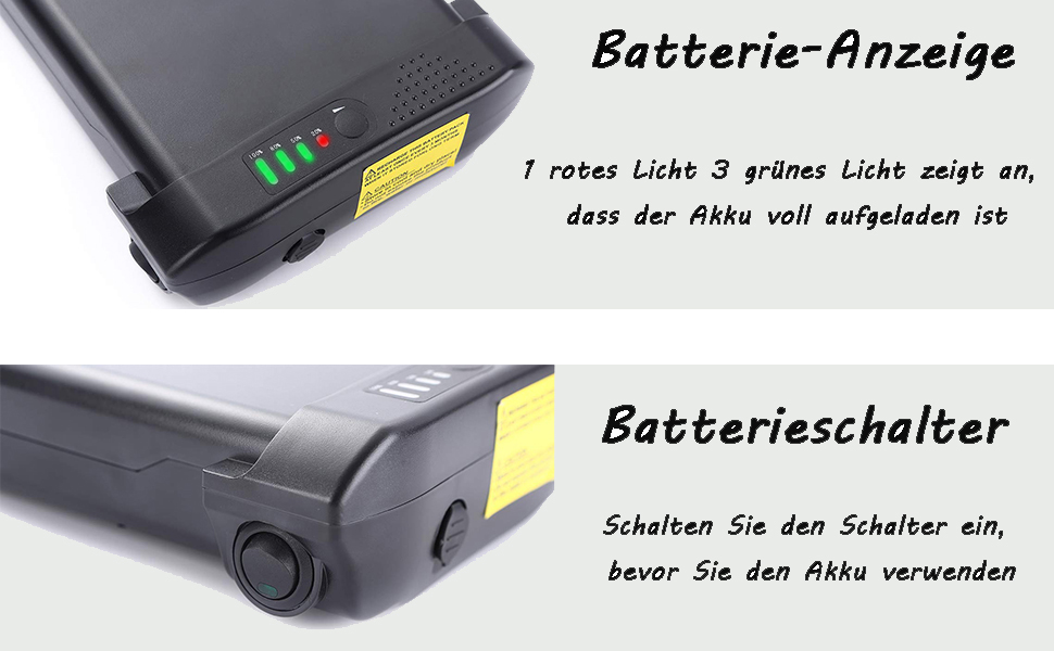 8.8Ah Elektrische Fahrrad Gep/äcktr/äger Batterie 25.9V HANERIDE 228Wh E-Bike Pedelec Ersatzakku f/ür Ansmann 24V