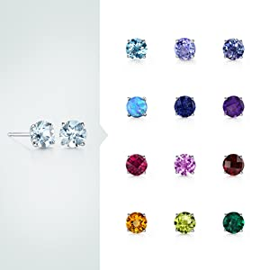 Peora solitaire dainty stud earrings in 14k white gold
