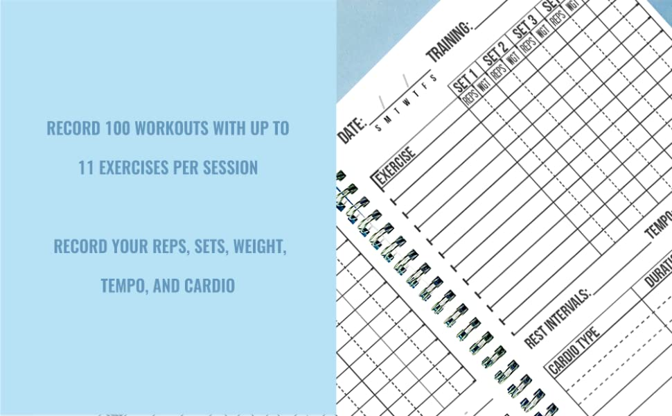 TRACK 100 WORKOUTS RECORD 11 EXERCISES 5 SETS REPS WEIGHTS TEMPO REST TRAINING DIARY AID HELP
