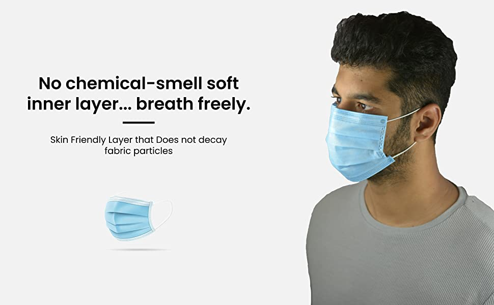 No Chemical Smell Soft Inner layer of 3 Ply disposable surgical Face Mask with Meltblown Layer