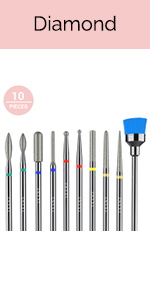 10pcs Cuticle Diamond Nail Drill Bits