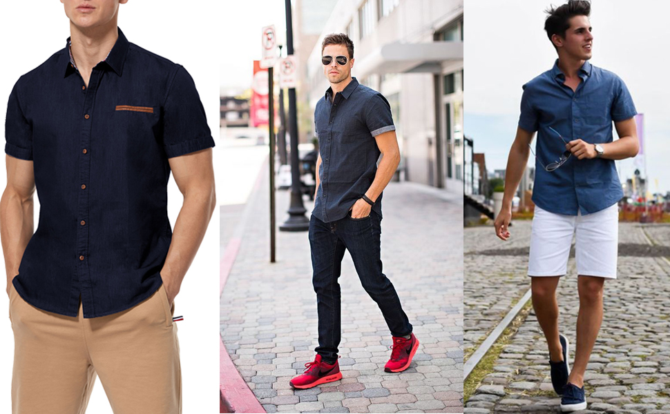 Short Sleeve Button up Shirts for Men