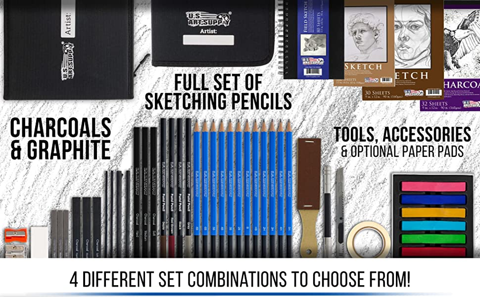 U.S. Art Supply Professional Artist Sketch Sets With Canvas Cases