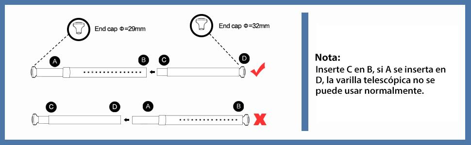 KINLO 110-210cm Barra de cortina de ducha Poste telescópico Barra ...