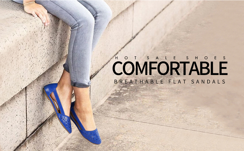 Greatonu Womens Shoes Cut Out Closed Toe Ballets Flats