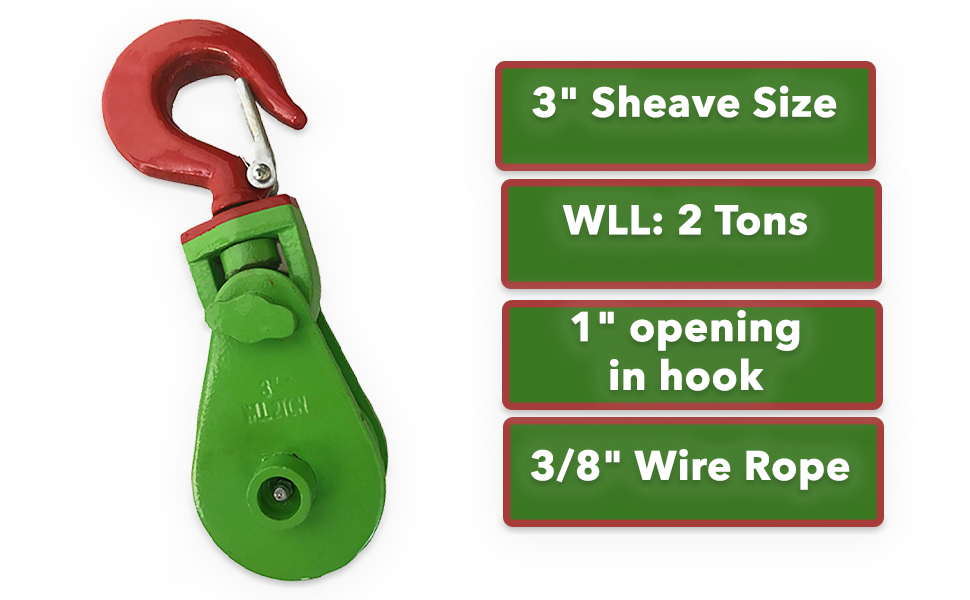 2 Ton Snatch Block with 3//8 Hook 3 Sheave Size 3//8 Wire Rope 0900155