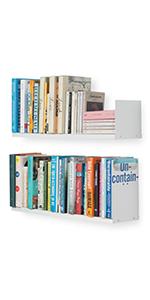 Wallniture Libro Floating Shelves U Shape Metal Wall Shelf Bookcase CDs DVDs Storage White Set of 2