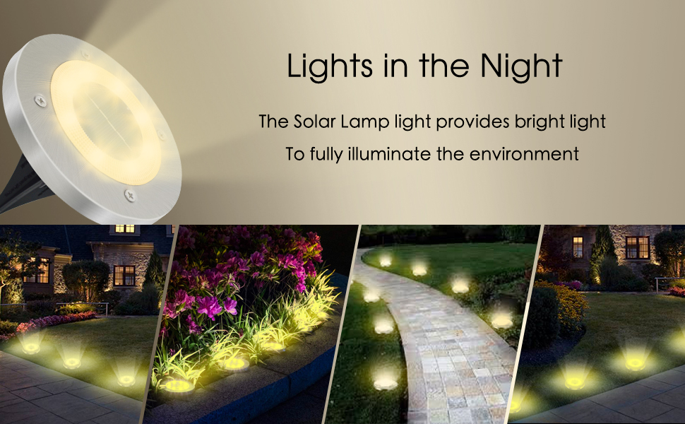 Luces Solares Exterior Jardin 8 Pack 8LEDs, IP65 Impermeable Focos Solares Suelo LED para Exterior, Jardín, Patio, Terraza, Césped, Camino, Pasarela (Blanco Cálido): Amazon.es: Iluminación