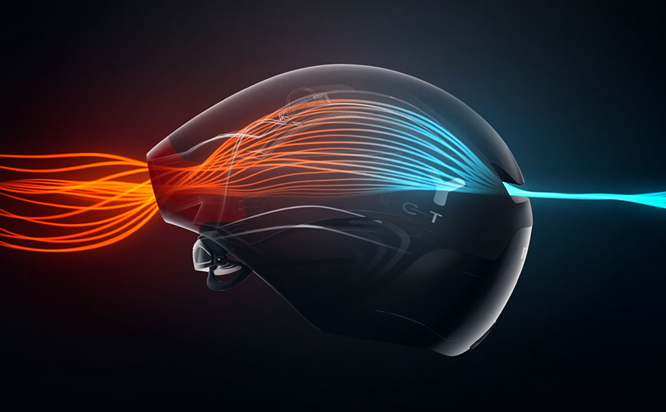 Profile of black The Wing Aero Helmet showing illustration of how the enhanced ventilation works