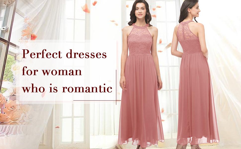 floor length long lace chiffon dress