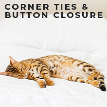 Corner Ties, Button Closure, Secure