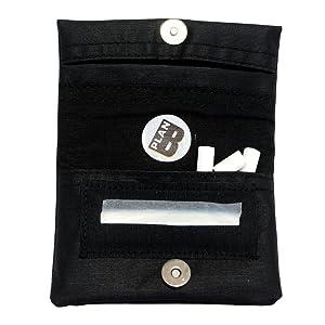 cartera negra de tela para tabaco de liar
